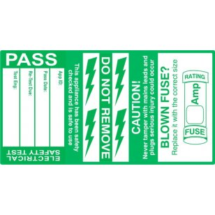 75mm x 40mm (500 roll) PASSED PAT Test Cable Labels